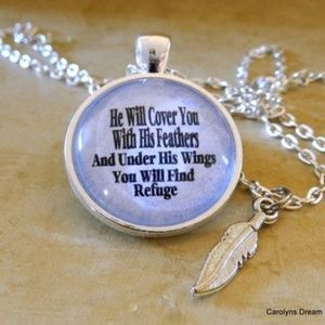 Jewelry - He Will Cover You Dome Necklace W/Glass Dome